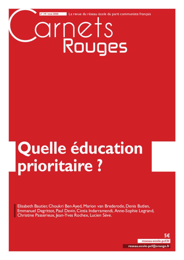 Couverture: Carnets rouges n°19 | Mai 2020 | Quelle éducation prioritaire?