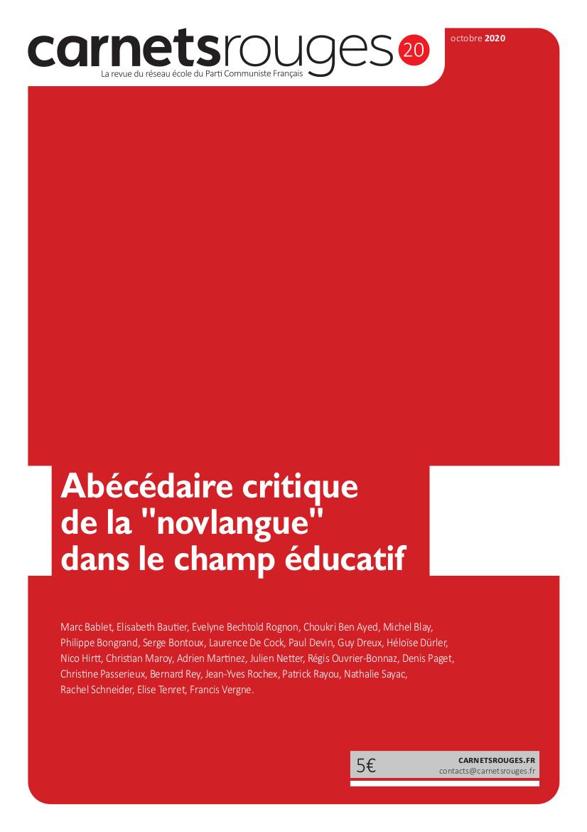 Couverture : Carnets rouges n°20 | Octobre 2020 | Abécédaire critique de la novlangue dans le champ éducatif