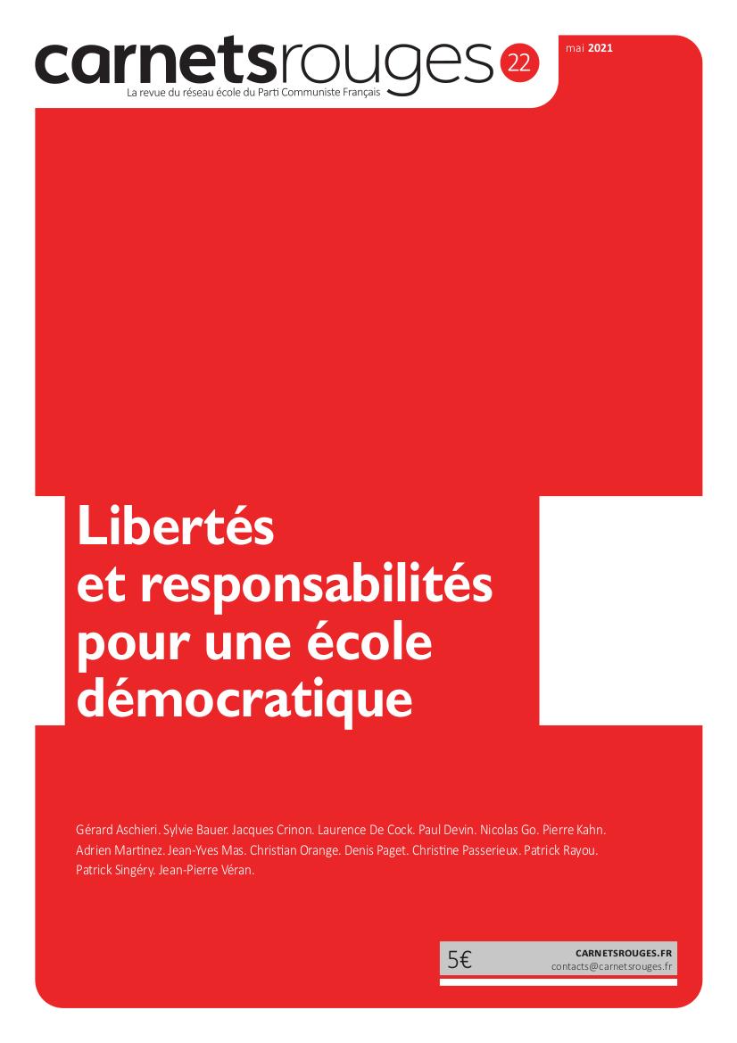 Couverture : Carnets rouges n°22 | Mai 2021 | Libertés et responsabilités pour une école démocratique